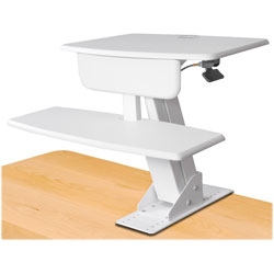 Kantek Desk Sit-To-Stand Workstation, 26-3/4 in x 24-1/2 in x 22 in, White