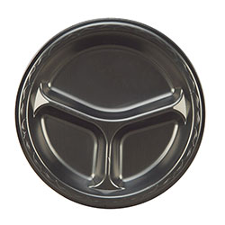 Genpak 3 Compartment Foam Dinner Plate, 9 in, Black