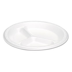 "Genpak 3 Compartment Foam Dinner Plate, 9"", White"