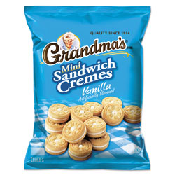 Grandma's Mini Vanilla Creme Sandwich Cookies, 3.71 oz, 24/Carton