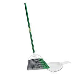 Libman Precision Angle Broom with Dustpan, 53 in Handle, Green/Gray, 4/Carton