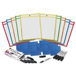 Charles Leonard Dry Erase Pocket Class Pack, Assorted Primary Colors, 10/Pack