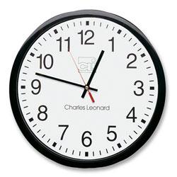 Charles Leonard Wall Clock, 12 in, Plastic, Black Frame/White Dial