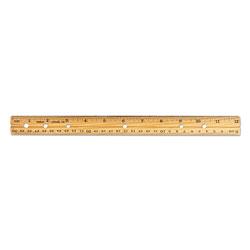 Charles Leonard Beveled Wood Ruler w/Single Metal Edge, 3-Hole Punched, 12 in, Natural, 36/Box