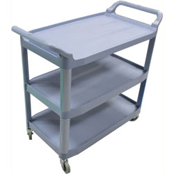 Impact 3-Cart Bussing Cart, Large, 20 inx38 inx40 in, Gray