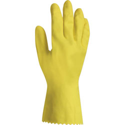 Layflat Gloves, Flock Lined, Large, 12/BG, Yellow