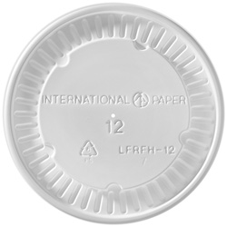 International Paper Flat White Cold Food Container Lid, 12 oz.
