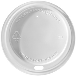 International Paper White Dome Hot Cup Lid, 10 oz. - 20 oz.