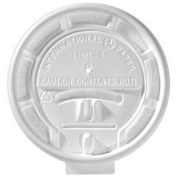 International Paper White Flat Tear-Back Hot Cup Lid, 8 oz.