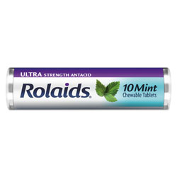 Rolaids Ultra Strength Antacid Chewable Tablets, Mint, 10/Roll, 12 Roll/Box