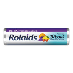Rolaids Ultra Strength Antacid Chewable Tablets, Assorted Fruit, 10/Roll, 12 Roll/Box