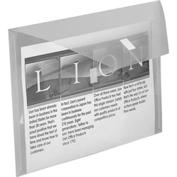 "Lion Poly Envelope with Front Pocket, 12-1/2""x9-3/4"", Clear"