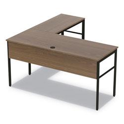 Linea Italia Urban Desk Workstation, 59w x 59d x 29.5h, Natural Walnut