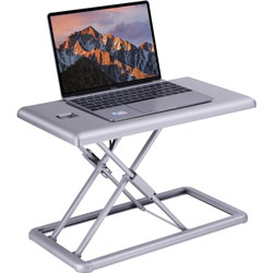 Lorell Portable Desk Riser, Up to 19 in Screen Support, 15 in Height x 19 in Width x 20.3 in Depth, Portable, Desktop, Plastic, Silver