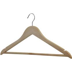 Lorell Wooden Coat Hanger, for Coat, Clothes, Garment, Wooden, Metal, Natural, 30 / Carton