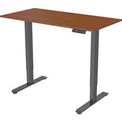 Lorell Desk, Height-Adj, 48 inx24 inx28.9 in-47.2 in , Walnut/Black