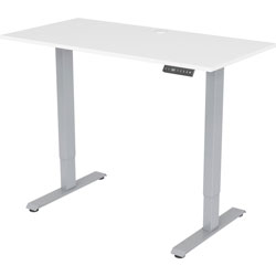 Lorell Desk, Height-Adj, 48 inx24 inx28.9 in-47.2 in , White/Gray