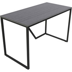 Lorell SOHO Modern Writing Desk, 48 in x 24 in x 30 in, Material: Steel Frame, Laminate Top, Wood Top, Finish: Gray Top, Black