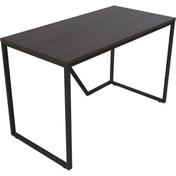 Lorell SOHO Modern Writing Desk, 48 in x 24 in x 30 in, Material: Steel Frame, Laminate Top, Wood Top, Finish: Mocha Top, Black