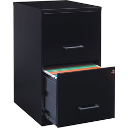 Lorell Steel File Cabinet, 2-Drawer, 14-1/4 inx18 inx24-1/2 in, Black
