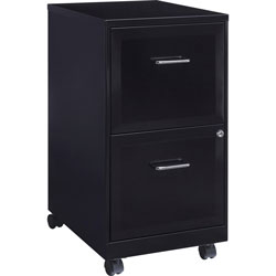 Lorell Steel Mobile File Cabinet, 2-DR, 14-1/4 inx18 inx24-1/2 in, BK