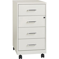 Lorell Mobile File Organizer, 4-Drawer, 26.5 in x 14.25 in x 18 in, Steel, White