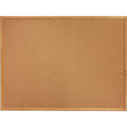 Lorell Cork Board, 2'x1-1/2', Oak Frame