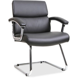 Lorell Guest Chair, 35-3/8 in x 26-1/8 in x 35 in, Leather/Black