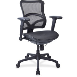 Lorell FLL Mesh Midback Chair, 12 in x 11-4/5 in x 1 in, Black