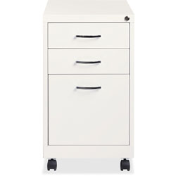 Lorell Pedestal File, 3 Drawers, Mobile, 15 inx19 inx26 in, White