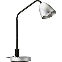 Lorell Desk Lamp, LED, 7-Watt, 6-9/10 inWx6-9/10 inLx20-9/10 inH, Silver