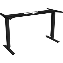 Lorell Sit-to-Stand Base, for 48 in-72 in Tabletop, 2-Tier, 27-1/2 in-47 inH, Black