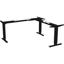 Lorell Sit-to-Stand Base, L-shape, for 48 in-72 in Tabletop, 24 in-50 inH, Black