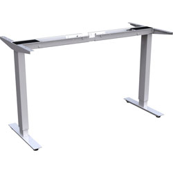 Lorell Sit-to-Stand Base, for 48 in-72 in Tabletop, 2-Tier, 27-1/2 in-47 inH, Silver