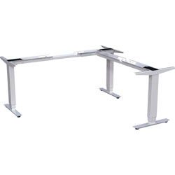 Lorell Sit-to-Stand Base, L-shape, for 48 in-72 in Tabletop, 24 in-50 inH, Silver