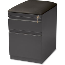 Lorell Mobile Pedestal w/Seat Cushion, 15 in x 22/25 in x 23-3/4 in, Charcoal