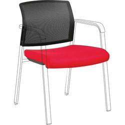 Lorell Back and Seat Kit, 22-9/10 inWx22-3/5 inLx32-1/10 inH, Black/Red
