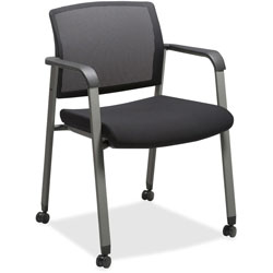 Lorell Guest Chair, Mesh Back with Casters, 22-7/8 in x 22-5/8 in x 32-1/8 in, Black