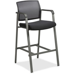 Lorell Stool for Guests, Mesh Back, 23-5/8 in x 22-78 in x 42-7/8 in, Black