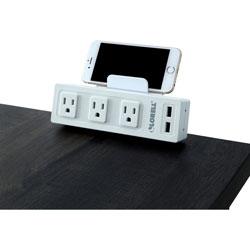 Lorell AC Power Strip, 3 Outlets, 2 USB Ports, Desktop, White