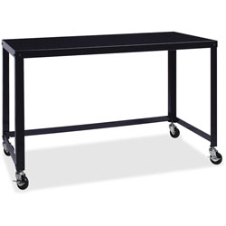 Lorell Ready-to-Assemble Mobile Desk, 48 in x 23 in x 29-1/2 in, Black