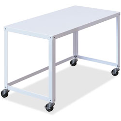 Lorell Ready-to-Assemble Mobile Desk, 48 in x 23 in x 29-1/2 in, White