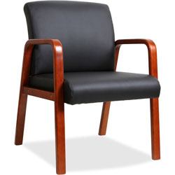Lorell Guest Chair, 24 in x 25-5/8 in x 33-1/4 in, Wood, Black/Cherry