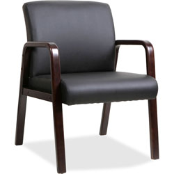 Lorell Guest Chair, 24 in x 25-5/8 in x 33-1/4 in, Wood, Black/Espresso