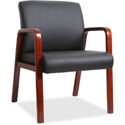 Lorell Guest Chair, 24 in x 25-5/8 in x 33-1/4 in, Wood, Black/Mahogany