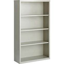 Lorell 4-Shelf Bookcase, Light Gray