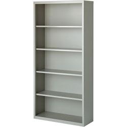 Lorell 5-Shelf Bookcase, Light Gray