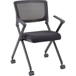 Lorell Nesting Chairs w/Arms, 24-3/8 inx22-7/8 inx35-3/8 in, 2/CT, Black