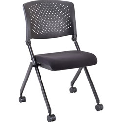 Lorell Nesting Chairs, Mobile, 24-3/8 inx22-7/8 inx35-3/8 in, 2/CT, Black