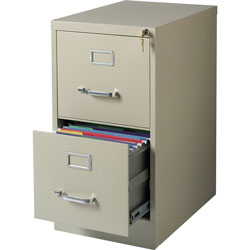 Lorell Vertical File, 22 in Deep, Comm, 2-Drawer, 15 in x 22 in x 28 in, PY